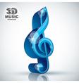 Treble clef 3d blue music design element vector image vector image
