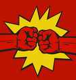 two clenched fists bumping together on pop art vector image