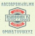 vintage label font named sheffield vector image vector image