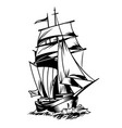 vintage monochrome sea ship concept vector image