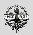 vintage music emblem octopus tentacles and vector image vector image