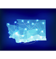 Washington state map polygonal with spotlights vector image vector image