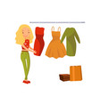 woman choosing dress during shopping girl buying vector image vector image