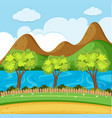 background scene with river and mountain vector image