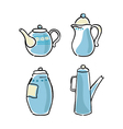 set of tableware hand-drawn on a white background vector image