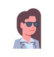 female wearing sunglasses emotion icon isolated vector image