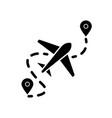 airplane route flat design long shadow glyph icon vector image