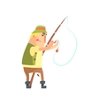 Amateur Fisherman In Khaki Clothes Placing A Worm vector image vector image