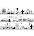 amusement park landscape carnival roller coasters vector image