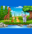 animals are enjoying nature river vector image vector image