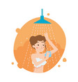 beautiful girl washes body in the shower vector image vector image