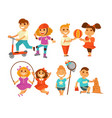 children outdoor activity boy and girl childhood vector image