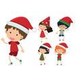 children wearing christmas hats vector image vector image
