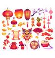 chinese new year holiday symbols isolated icon set vector image