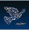 christmas and new year card of copper peace dove vector image vector image