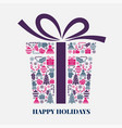 christmas gift box in creative style vector image vector image