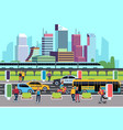 city street people and transport car bus bike vector image
