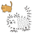 connect the dots and draw a funny fat cat vector image vector image
