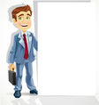 Cute businessman hold big blank banner vector image vector image