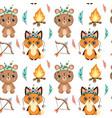 cute cartoon boho animals seamless pattern vector image