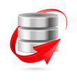 database icon with red curved arrow as update vector image vector image