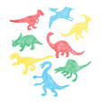 different dinosaur silhouette icon in cartoon vector image vector image