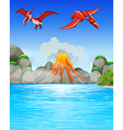 Dinosaurs flying over volcano vector image vector image