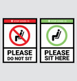 do not sit and sit here sign to prevent covid-19 vector image vector image