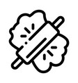 dough and wooden rolling pin icon thin line vector image vector image