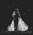 drawing bride and groom standing face to face vector image