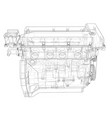 engine sketch rendering of 3d vector image