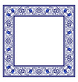 frame with blue ethnic floral ornament with roses vector image
