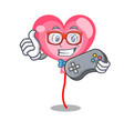 gamer ballon heart mascot cartoon vector image vector image