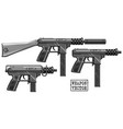 graphic silhouette submachine gun with ammo clip vector image vector image