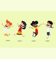group of cartoon school children jump for joy vector image