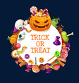 halloween candies pumpkins jellies and lollipops vector image vector image