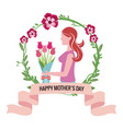 happy mothers day - woman bouquet flowers crown vector image vector image