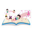 Happy Music Kids with book vector image vector image