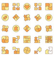 jigsaw puzzle colored icons set - puzzles vector image