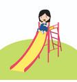little girl playing slider enjoying vector image