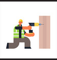 male builder using electric drill busy workman vector image
