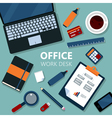 Modern Office Work Desk with Laptop vector image vector image