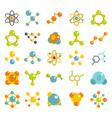 molecule icon set flat style vector image vector image