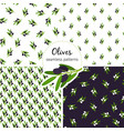 olives pattern seamless collection with green leaf vector image vector image