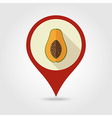 Papaya flat pin map icon Tropical fruit vector image vector image