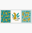 poster set leopards and tropical leaves vector image vector image