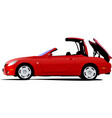 red car cabriolet on the road vector image vector image
