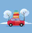 red car with suitcases on roof winter family vector image