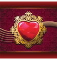 ruby heart in golden frame on floral background vector image vector image