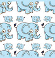 seamless pattern tile cartoon with elephant vector image